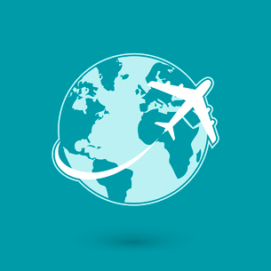 Global plane travel network icon isolated vector illustrationのイラスト素材 [FYI03091053]