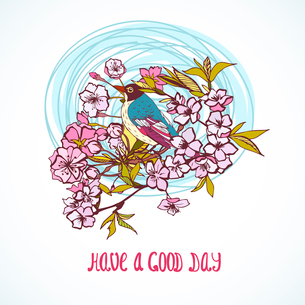 Good day wishing card with cherry sakura flowers and bird decorative symbol isolated vector illustraのイラスト素材 [FYI03091054]