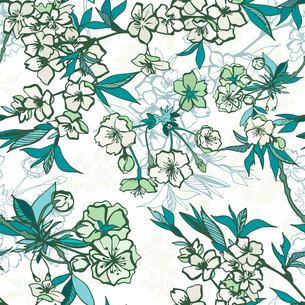Seamless floral pattern with blossoming cherry or sakura elements vector illustrationのイラスト素材 [FYI03091055]