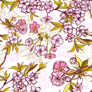 Seamless background pattern with blossoming cherry or sakura elements vector illustrationのイラスト素材 [FYI03091056]