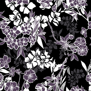 Decorative seamless pattern with blossoming cherry or sakura elements vector illustrationのイラスト素材 [FYI03091060]