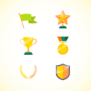 Set of achievement badges for motivation and incentive isolated vector illustrationのイラスト素材 [FYI03091065]