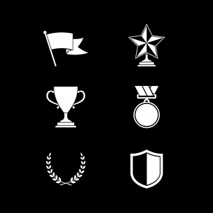 Trophy and prize symbols of shield star medal and wreath isolated vector illustrationのイラスト素材 [FYI03091068]