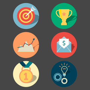 Success concept icons set of target prize medal and achievement isolated vector illustrationのイラスト素材 [FYI03091069]