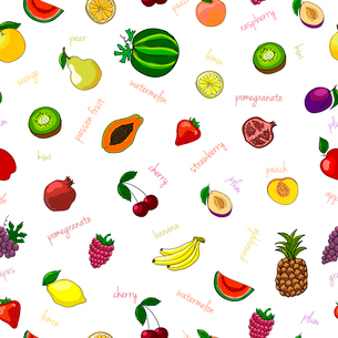Fresh fruits seamless pattern with pear watermelon kiwi and garnet vector illustrationのイラスト素材 [FYI03091070]