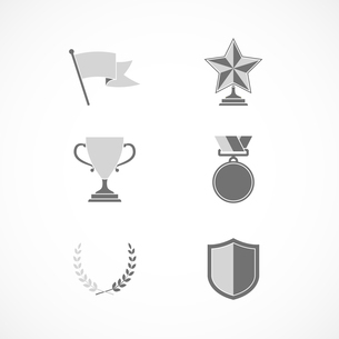 Game winning awards and recognition signs of shield star medal and wreath isolated vector illustratiのイラスト素材 [FYI03091071]