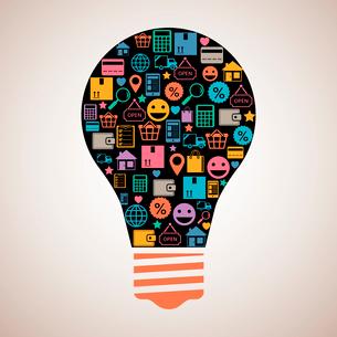 Online shopping creative light bulb emblem in flat style vector illustrationのイラスト素材 [FYI03091085]