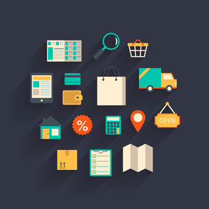 Ecommerce elements in the form of cloud creative concept isolated vector illustrationのイラスト素材 [FYI03091087]