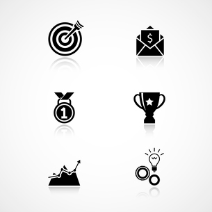 Goal achievement icons set of trophy medal and motivation isolated vector illustrationのイラスト素材 [FYI03091095]