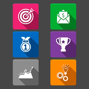 Business winner icons set of award growth graph and money prize isolated vector illustrationのイラスト素材 [FYI03091096]