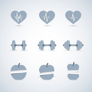 Fitness exercises progress icons set of heart rate strength and slimness isolated vector illustratioのイラスト素材 [FYI03091097]