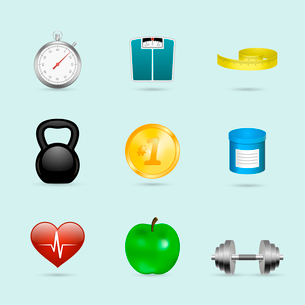 Fitness sport healthcare realistic icons set of scales apple and dumbbells vector illustrationのイラスト素材 [FYI03091099]