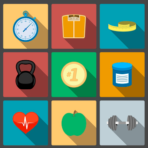Fitness healthy lifestyle icons set of scales apple and heart rate vector illustrationのイラスト素材 [FYI03091103]