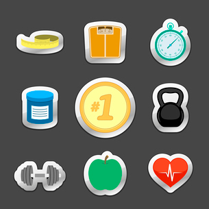 Healthy fitness lifestyle stickers set of weight scales diet apple dumbbells and heart isolated vectのイラスト素材 [FYI03091104]