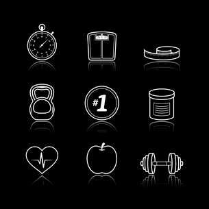 Fitness sport wellness healthcare icons set on black background isolated vector illustrationのイラスト素材 [FYI03091105]