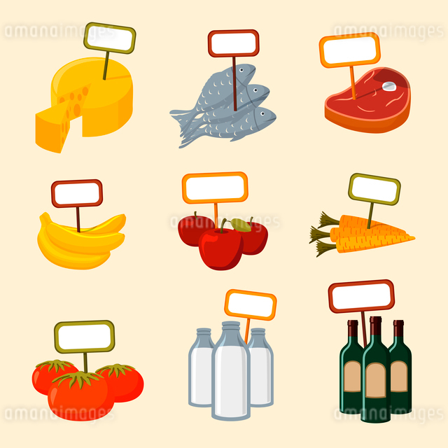 Supermarket foods items of meat fish fruits vegetables and drinks with blank signs isolated vector iのイラスト素材 [FYI03091113]