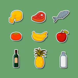 Supermarket foods items of meat fish fruits vegetables and drinks on stickers isolated vector illustのイラスト素材 [FYI03091114]