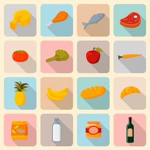 Supermarket foods icons set of fresh and natural vegetables fruits meat and fish isolated vector illのイラスト素材 [FYI03091115]