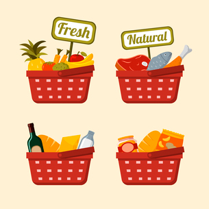 Shopping basket set with supermarket fresh and natural vegetables fruits meat chicken and fish isolaのイラスト素材 [FYI03091116]