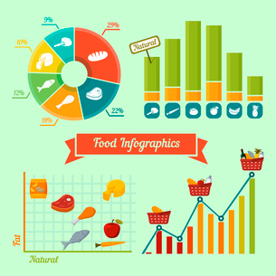 Supermarket foods infographics charts and graphs of natural and fresh products isolated vector illusのイラスト素材 [FYI03091117]