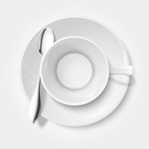 Top view on realistic empty white cup with saucer and chrome spoon isolated vector illustrationのイラスト素材 [FYI03091118]