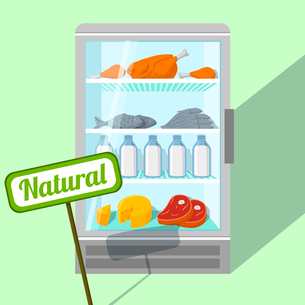 Natural foods of chicken fish meat and dairy products in refrigerator vector illustrationのイラスト素材 [FYI03091119]