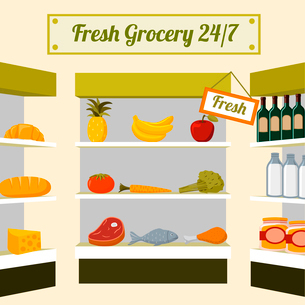 Fresh grocery foods of fruits vegetables meat chicken fish and drinks on store shelves vector illustのイラスト素材 [FYI03091120]