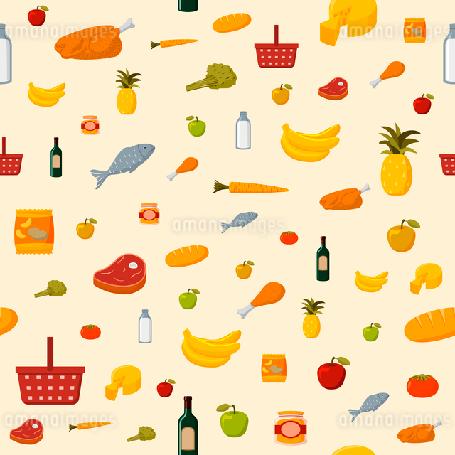 Supermarket food items seamless background of fresh and natural vegetables fruits meat and dairy proのイラスト素材 [FYI03091122]