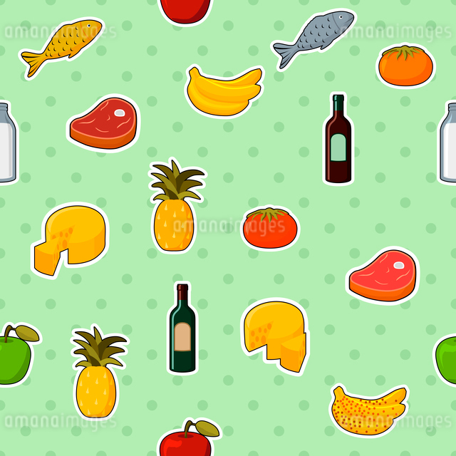 Supermarket foods seamless pattern of fresh and natural vegetables fruits meat and cheese vector illのイラスト素材 [FYI03091125]