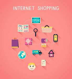 Internet marketing and online shopping infographics, how e-commerce website works vector illustratioのイラスト素材 [FYI03091129]