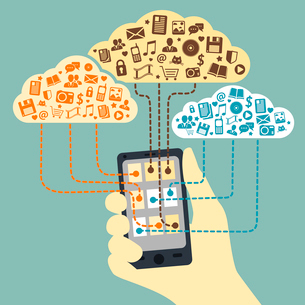 Business concept. Hand holding smartphone connected to cloud services with application media and socのイラスト素材 [FYI03091133]
