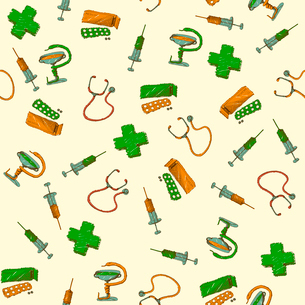 Seamless medicine and healthcare background vector illustrationのイラスト素材 [FYI03091134]