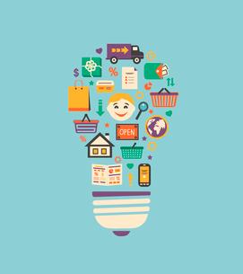 Online shopping innovation idea in flat style vector illustrationのイラスト素材 [FYI03091137]