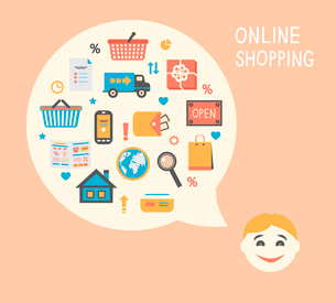 Online shopping innovation idea with happy satisfied customer vector illustrationのイラスト素材 [FYI03091145]