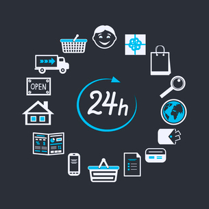 Internet website store open 24 hours for online shopping and customer service concept isolated vectoのイラスト素材 [FYI03091147]