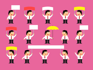 Business life. Set of office workers with blank banners and placards vector illustrationのイラスト素材 [FYI03091163]