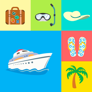 Flat vacation holidays and travel icons set of yacht palm tree flip-flops and hat vector illustratioのイラスト素材 [FYI03091164]