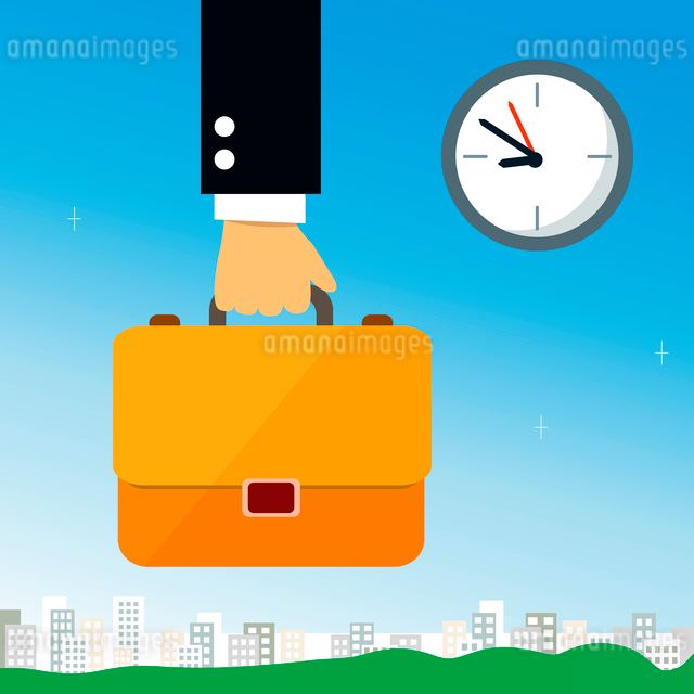 Business hand holding briefcase with documents vector illustrationのイラスト素材 [FYI03091165]
