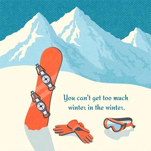 Snowboard winter mountain landscape background retro poster vector illustrationのイラスト素材 [FYI03091167]