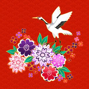 Kimono decorative motif with flowers and crane vector illustrationのイラスト素材 [FYI03091168]