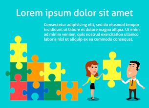 Business teamwork concept organized group of people solving puzzle vector illustrationのイラスト素材 [FYI03091170]