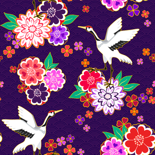 Decorative kimono floral motif background pattern with crane and flowers vector illustrationのイラスト素材 [FYI03091171]