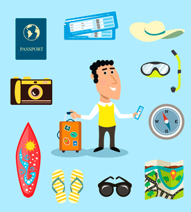 Vacation or business traveler character set with suitcase passport airplane tickets vector illustratのイラスト素材 [FYI03091173]