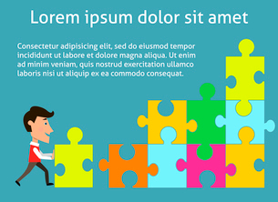Business teamwork concept organized group of people solving puzzle vector illustrationのイラスト素材 [FYI03091175]
