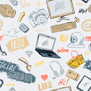Seamless doodle blog social media marketing pattern background vector illustrationのイラスト素材 [FYI03091197]