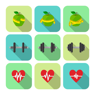 Fitness sport exercises progress icons set of heart rate diet and dumbbells isolated vector illustraのイラスト素材 [FYI03091199]