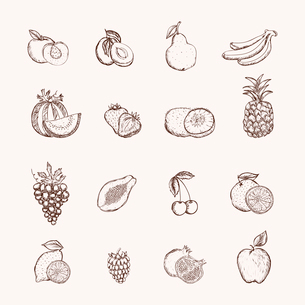 Fruits icons set of ananas apple bananas and cherry isolated vector illustrationのイラスト素材 [FYI03091210]