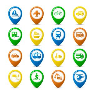 Transportation vehicles navigation pins set of car truck bus pedestrian isolated vector illustrationのイラスト素材 [FYI03091211]