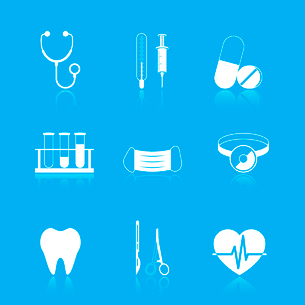 Health care tools icons set of stethoscope tube mask heart isolated vector illustrationのイラスト素材 [FYI03091216]