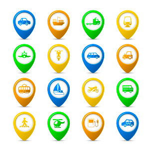 Transportation vehicles navigation pins set of tanker container tractor gas station isolated vectorのイラスト素材 [FYI03091217]